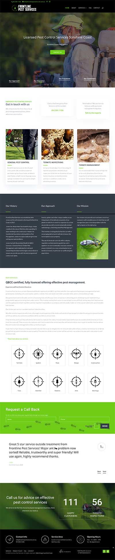 sunshine coast web design for pest control busienss
