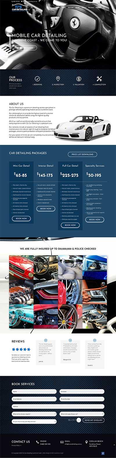 Car Detailing Web Design Sunshine Coast