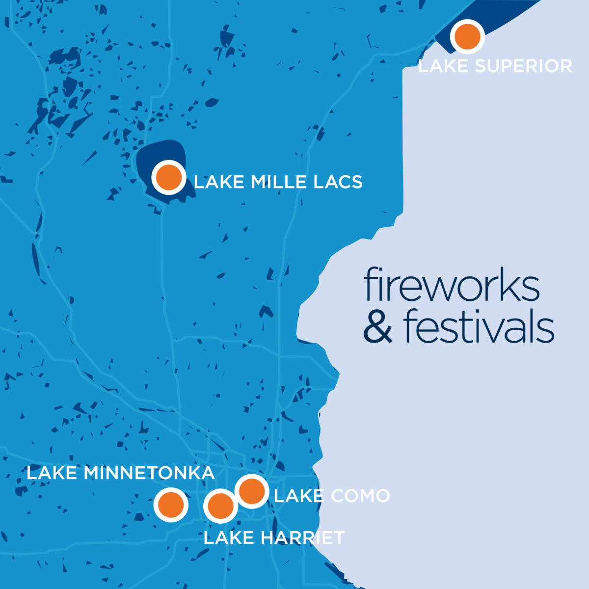 Hometown Lakes: Fireworks and Festivals [Map]
