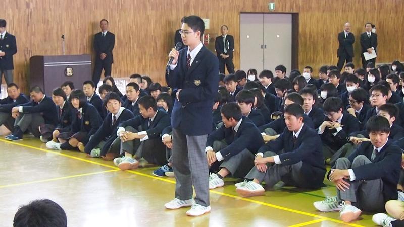 生徒会長から歓迎の言葉