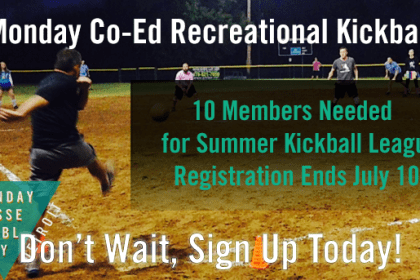 Co-Ed Recreational Kickball - 10 Players Needed