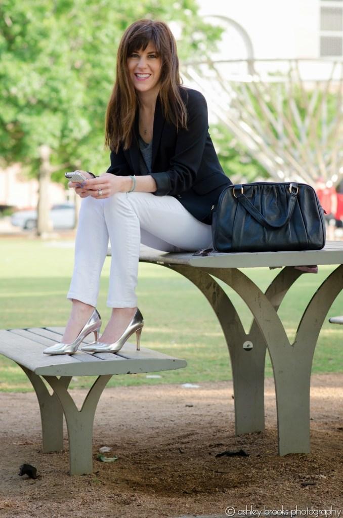 White Skinny Jeans JCrew Metallic Heels