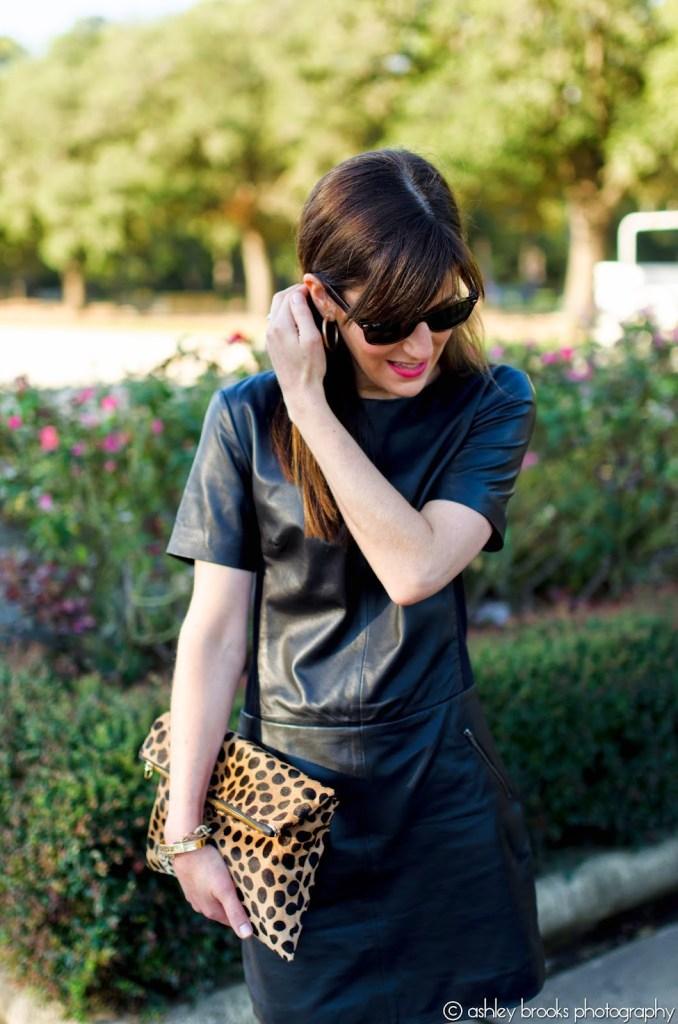 Halogen Black Leather Dress