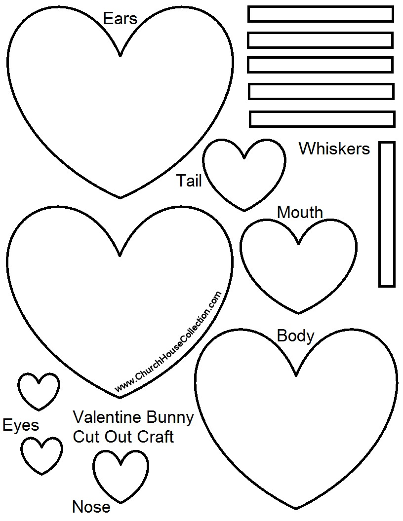 Valentine's Day Bunny Rabbit Heart Cutout Craft For Kids