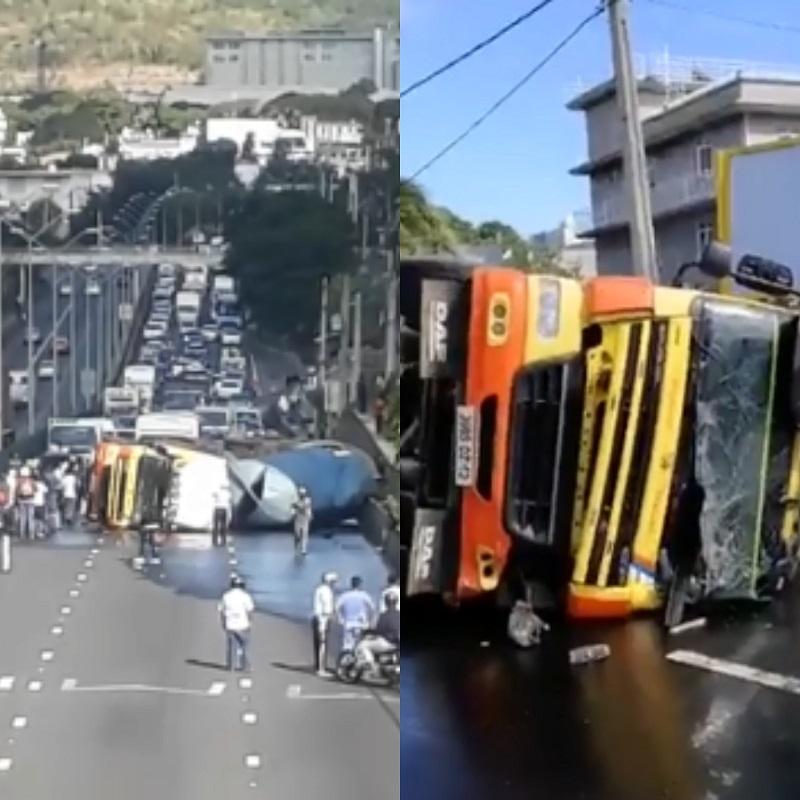 Accident à Pailles : Un camion renversé | Sunday Times