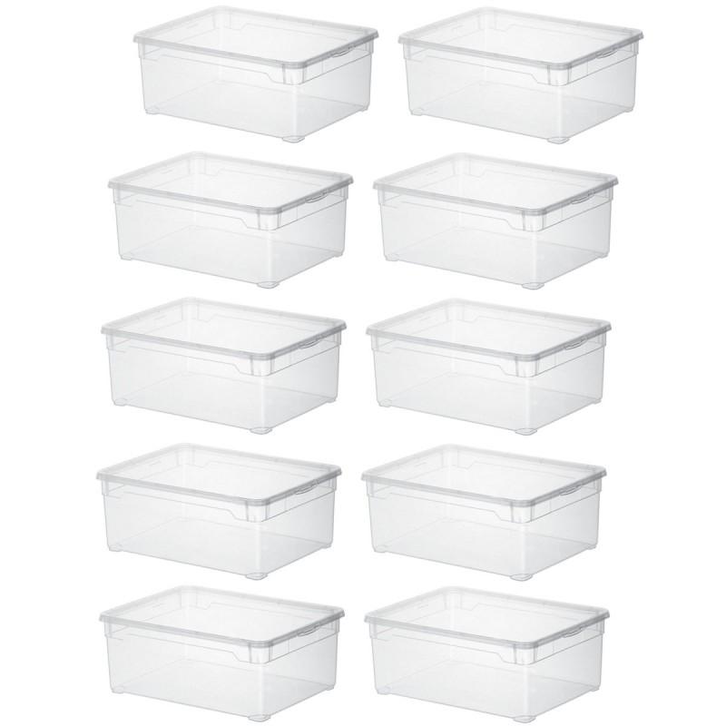 lot de 10 boites de rangement l36 5xp26 5xh14cm clear box sundis shop
