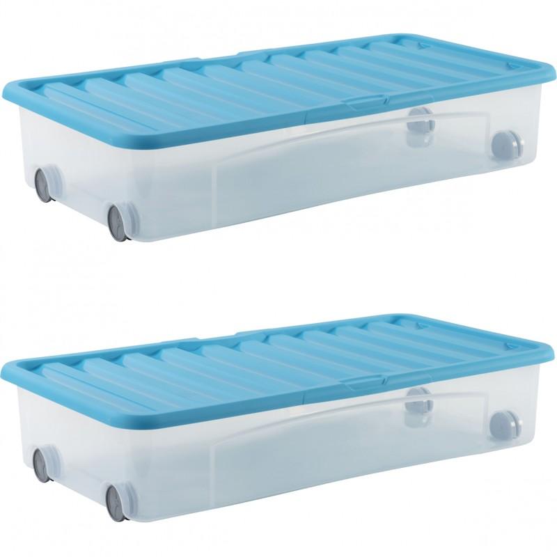 lot de 2 boites de rangement dessous de lit ventili 35l bleu sundis shop