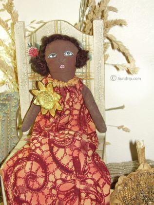May Bell Sunflower African American Folk Art Doll