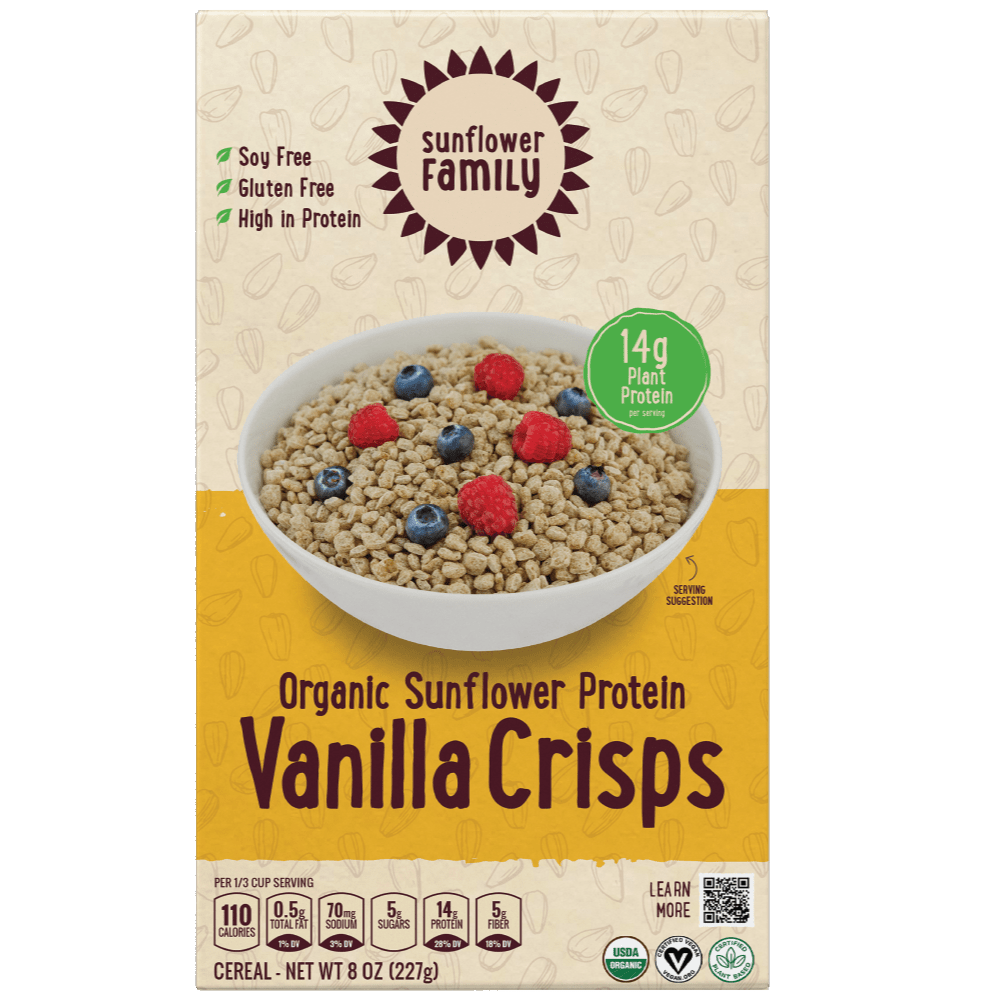 Front of pack for Organic Sunflower Protein Vanilla Crisps. Organic vanilla high protein cereal.