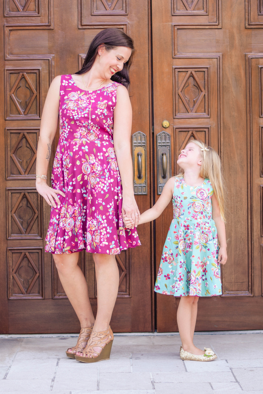 Sunflower Seams: Simple Life Patterns and Sew Caroline Collaboration Women's Ayda dress Mommy and Me