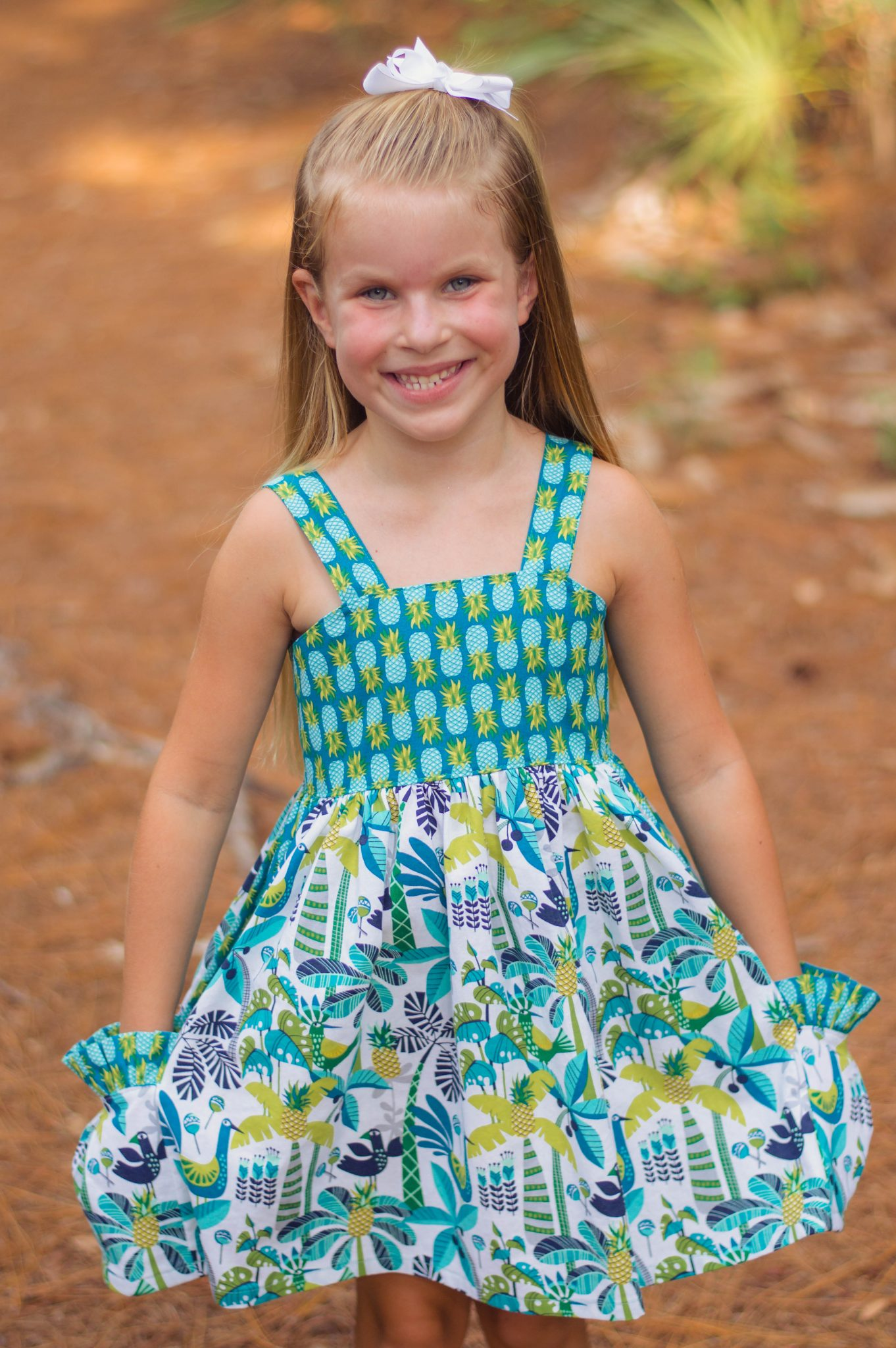 Sunflower Seams | Laguna Top & Dress, Simple Life Pattern Company, SLPco, PDF Sewing Patterns, Pattern, Girl Size 2t-12, Spring, Summer, Spring, Strappy, Pockets, Patchwork Skirt, Ruffles, Michael Miller Fabrics, Sewing Portfolio