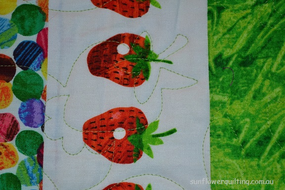 Very Hungry Caterpillar strawberry with quilting detail, by Linden