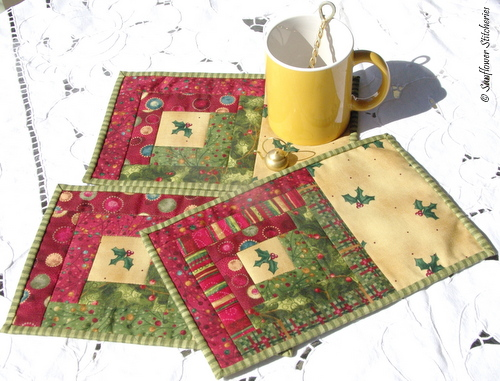 log cabin mug rugs