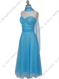 Strapless Turquoise Glitter Tea Length Dress