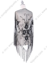 Black Lace Beaded Shawl | Sung Boutique L.A.