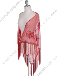Red Lace Beaded Shawl | Sung Boutique L.A.