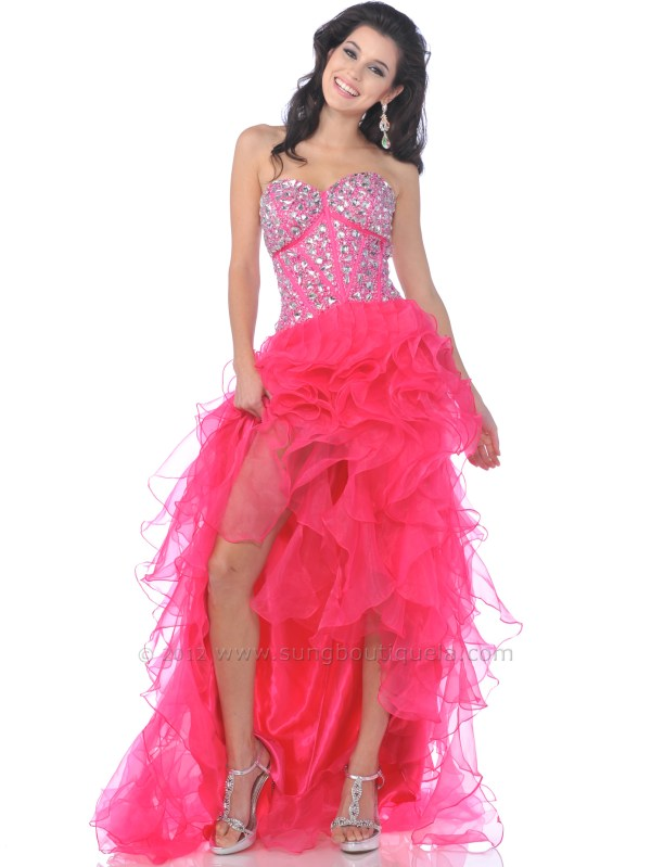 Jeweled Corset Top Ruffle High Prom Dress Sung