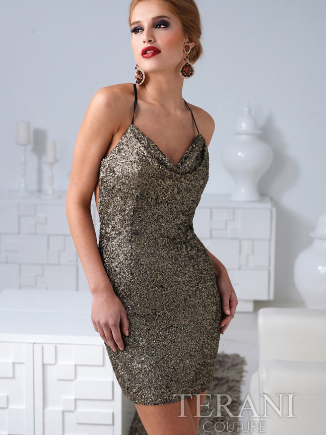 sequin open back cocktail
