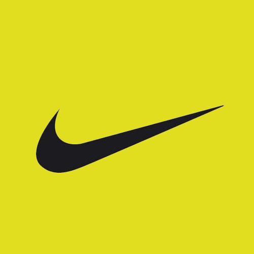 Sarı/yeşil zemin üzerine siyah Nike Swoosh logosu