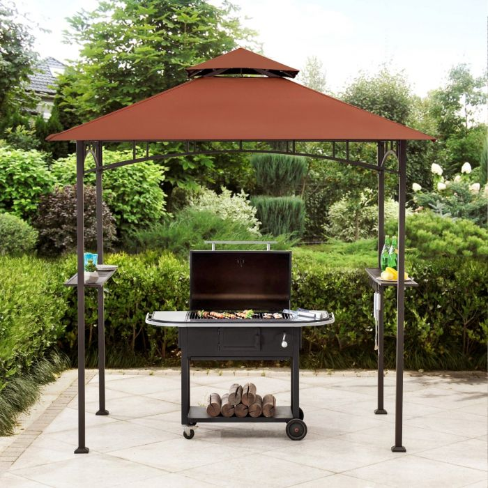 sunjoy 5 ft x 8 ft black steel 2 tier grill gazebo with red canopy and shelves