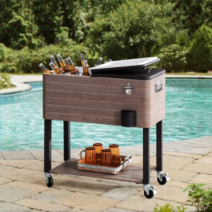 https www sunjoyonline com sunjoy brown 80 quart rolling ice chest portable patio party drink cooler cart with shelf and wheels