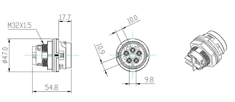 China AC 5 pin PV Solar Circular connectors manufacturer
