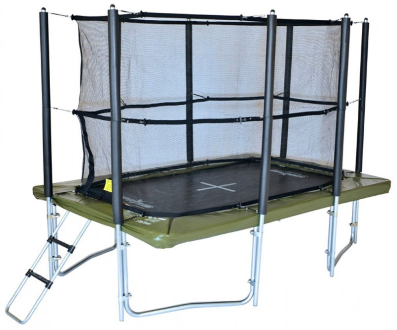 10ft x 7ft XR 300 rectangular trampoline with enclosure and ladder