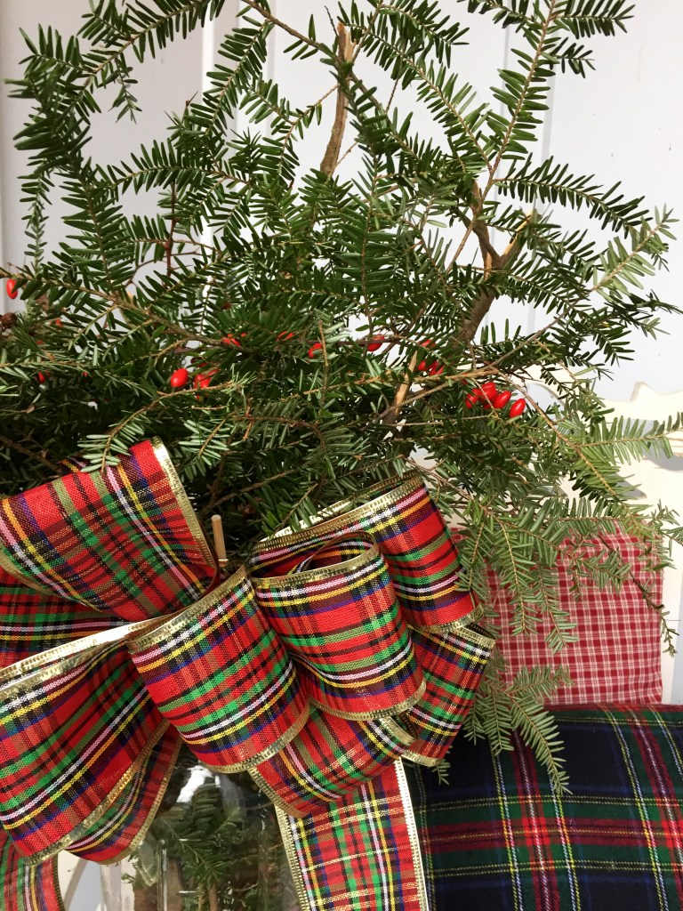 Rustic and Plaid Christmas Front Porch Decor Ideas Christmas Decor | Tartan Christmas | Birch Decor | Holiday Decorating | Tartan Ribbon | Plaid Ribbon | Country Christmas