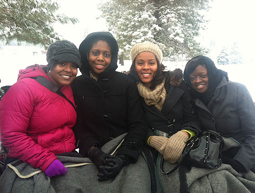 Warm and cozy with my girls!