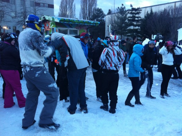 it's a party and a snowball fight