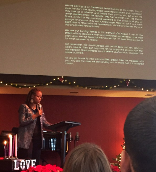pastor brenda salter-mcneil sharing a prophetic message she received during her visit to ferguson last week.
