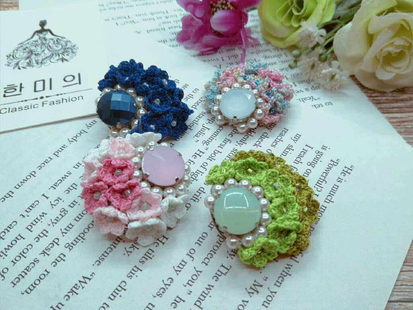 Rhinestone Brooches Design Ideas. Handmade Fabric Brooch Material