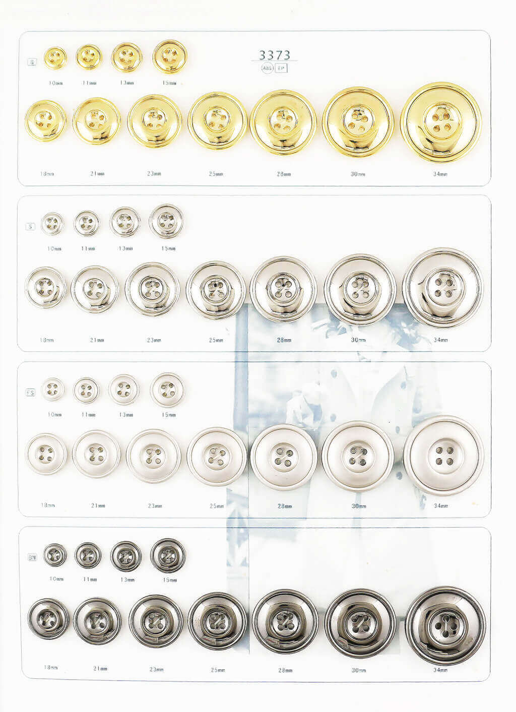 2 holes, 4 holes abs plating button catalogue