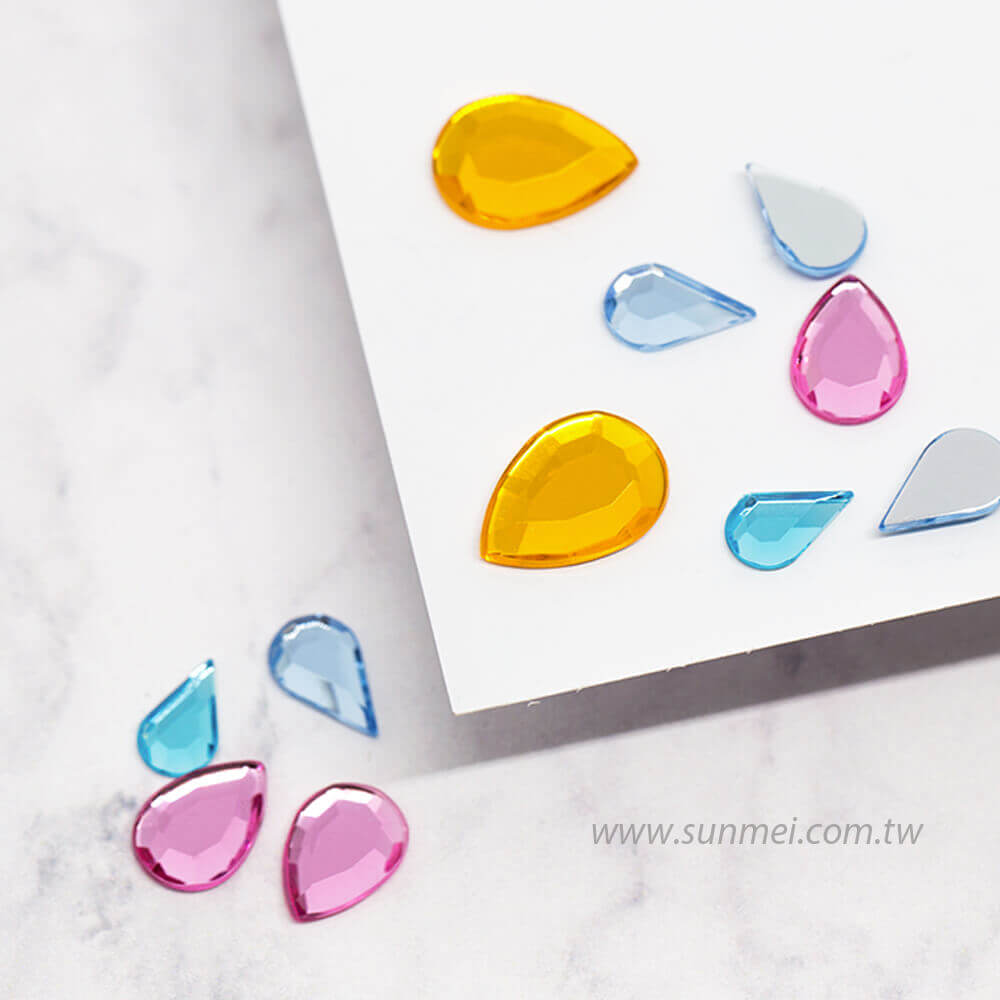acrylic gemstones flat back drop pear shape