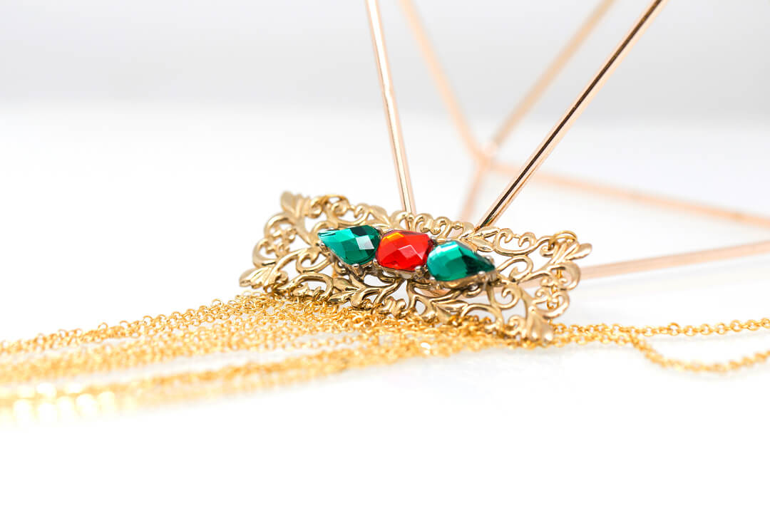 green and red rhinestones jewelry-1