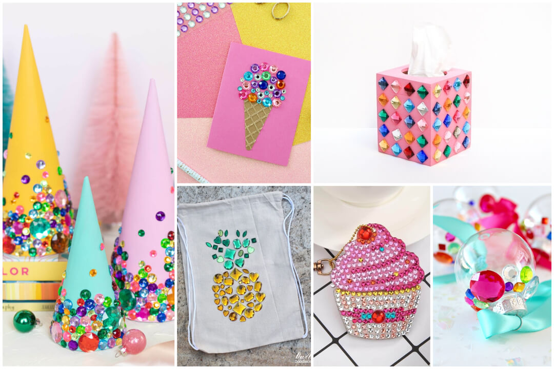 6 Cute & Colorful Rhinestone Craft Ideas
