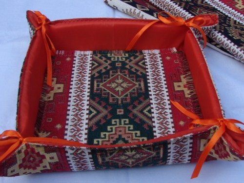 Handmade Fabric Bread Basket Armenian Carpet Ornament