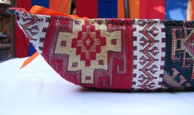 Handmade Fabric Bread Basket Armenian Carpet Ornament