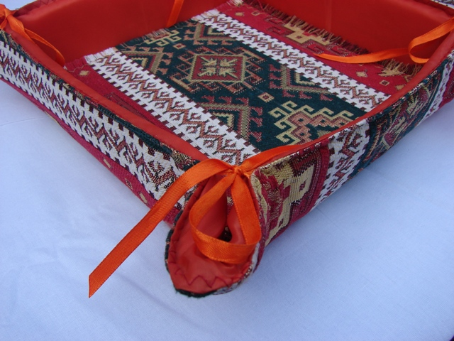 Fabric Bread Basket with Cover Armenian Carpet Ornament, Folding Storage Box