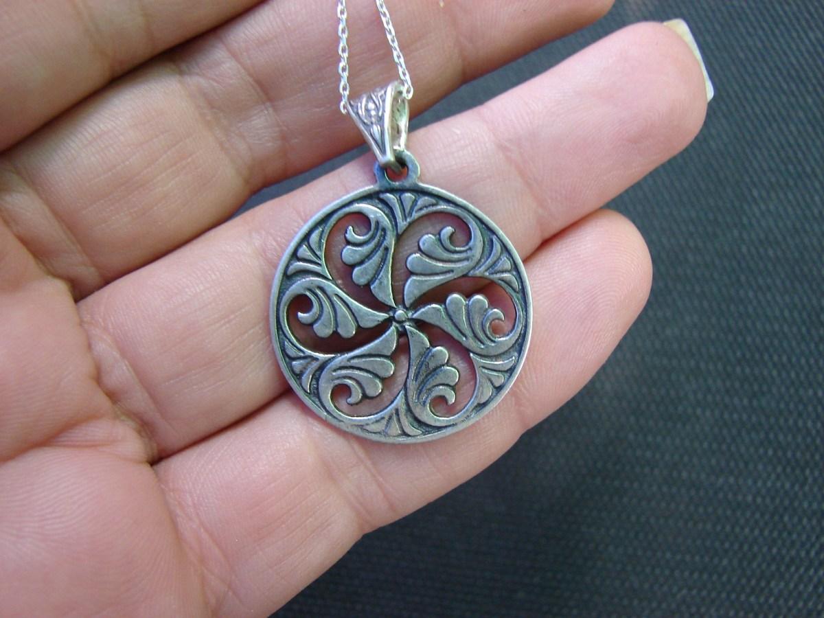 Necklace Wheel of Eternity Sterling Silver 925 Armenian Symbol