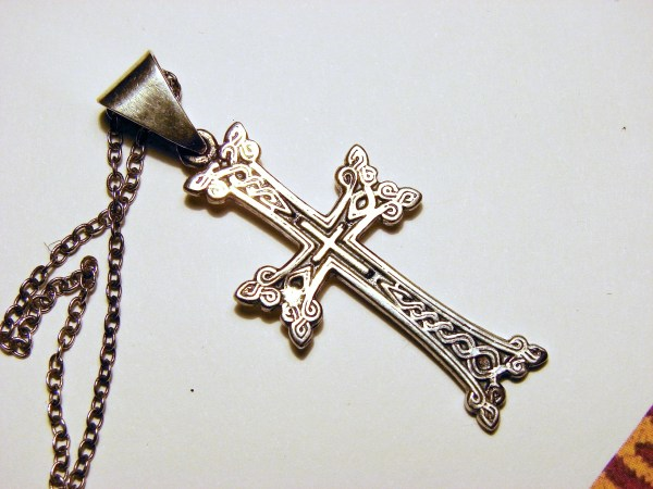 Silver Armenian Cross, Antique Khachqar Ornament