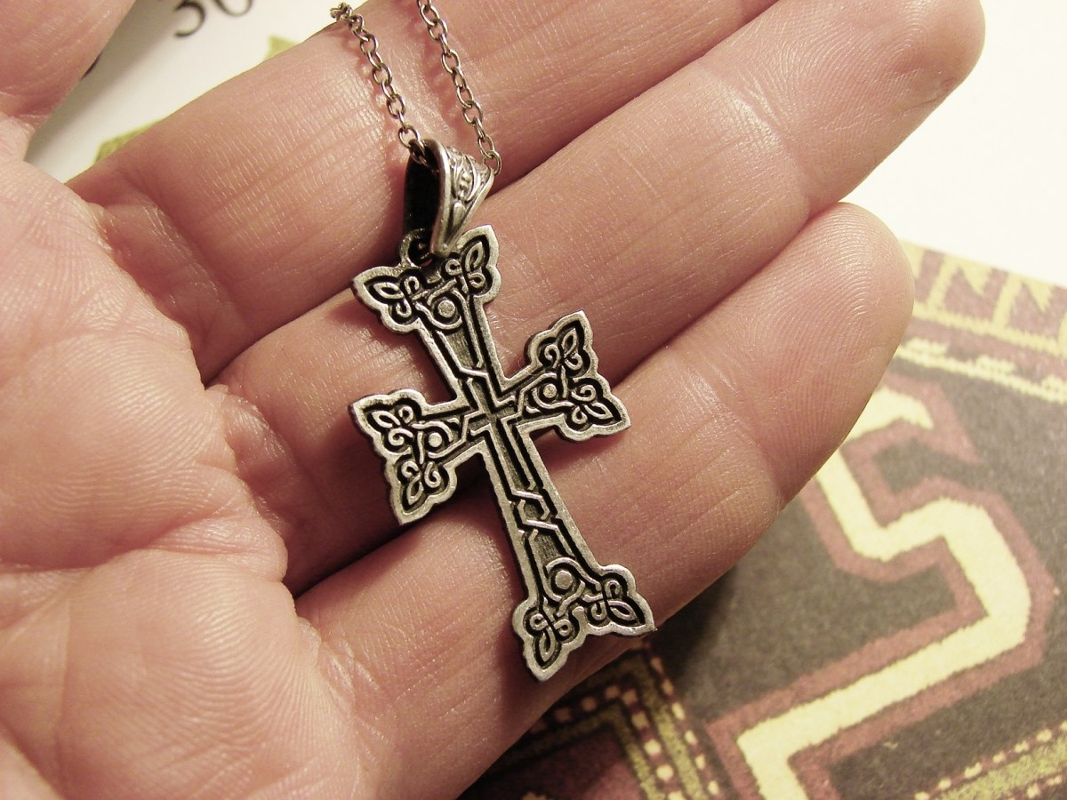 Armenian Cross Pendant Sterling Silver 925, Antique Khachqar Ornament