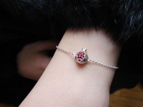 Bracelet Pomegranate Charm Sterling Silver 925