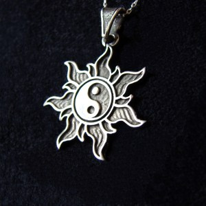 Pendant Yin Yang in rays of the Sun, Sterling Silver 925