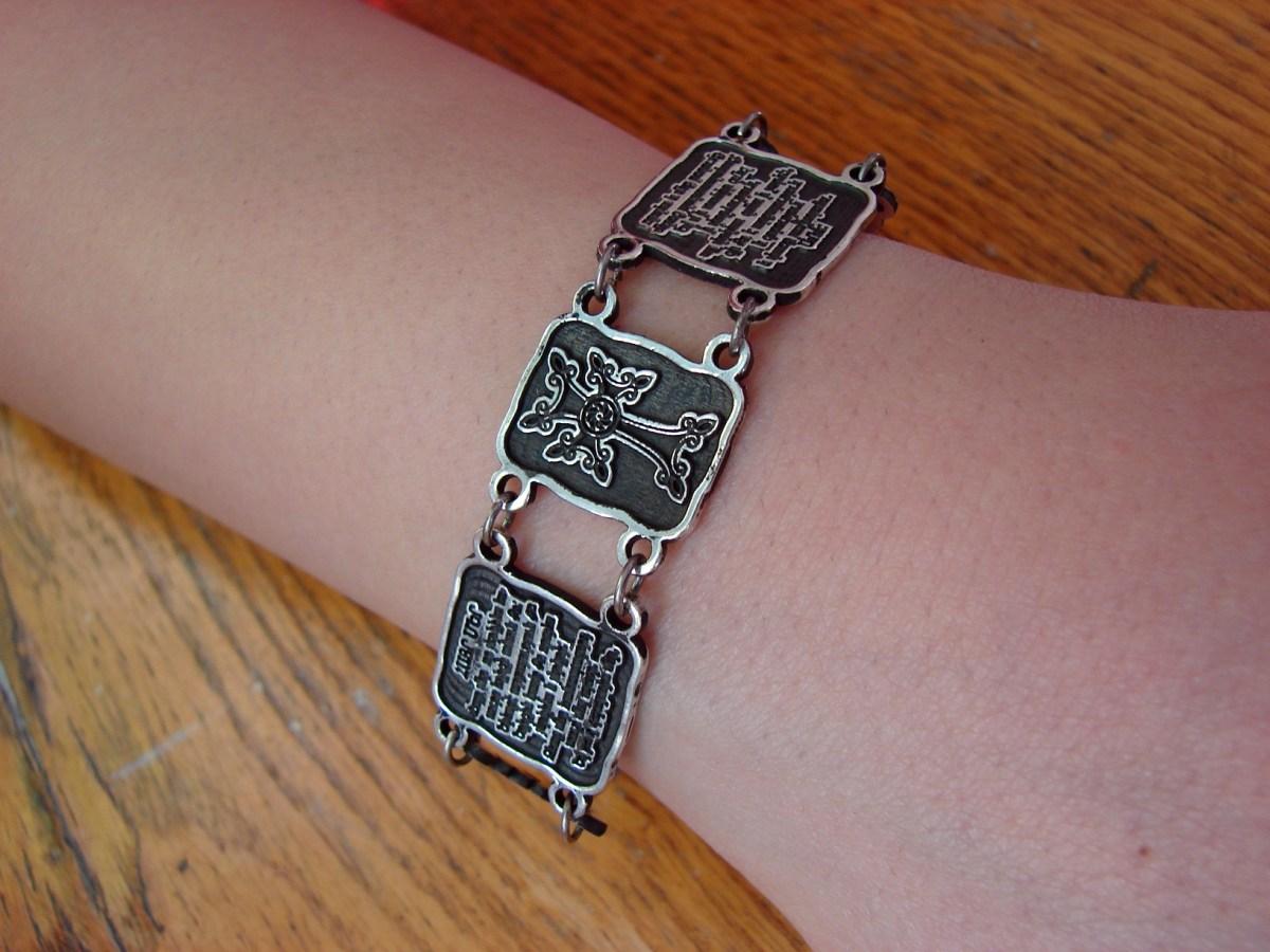 Wide Linked Bracelet Sterling Silver 925