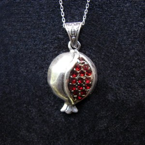 Armenian Pomegranate Necklace Sterling Silver 925 with Red Zircons