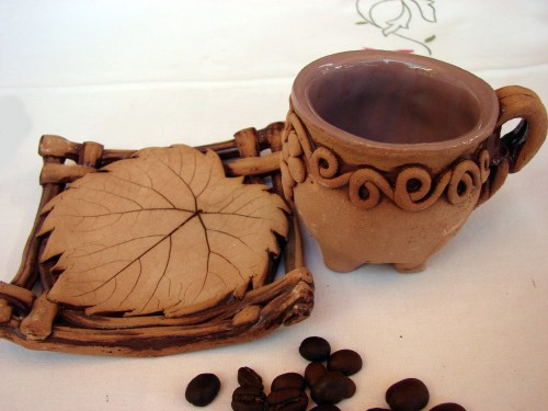 Ceramic Coffee Mug with plate, Espresso or Arabic Coffee cup, Rustic ceramic pottery