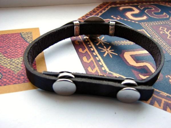 Leather Silver Bracelet for Men and Women, Wheel of Eternity