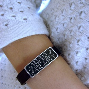 Leather & Silver Bracelet for Men and Women, Genuine Leather and Sterling silver Armenian Alphabet bar
