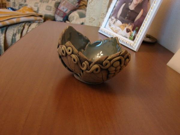 Ceramic Bowl, Candy vase, Key tray, soap dish, Grape leaves decorv